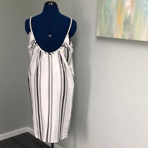 Zara Dresses - Zara Trafaluc White Dress, Blue Vertical Stripes